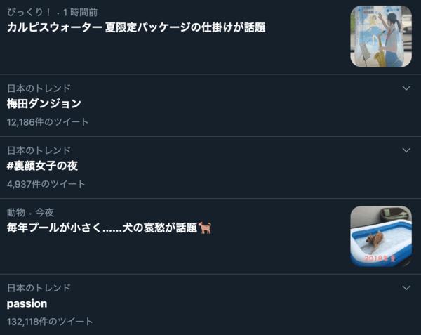 <画像>Twitterの急上昇ワード一覧